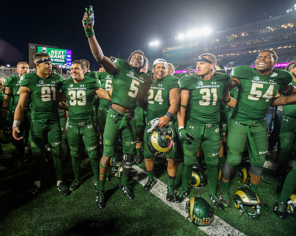 . Colorado State players celebrate a 44-42 victory over Nevada Saturday evening Oct. 14, 2017 at the CSU Stadium in Fort Collins. (Michael Brian/For the Reporter-Herald)