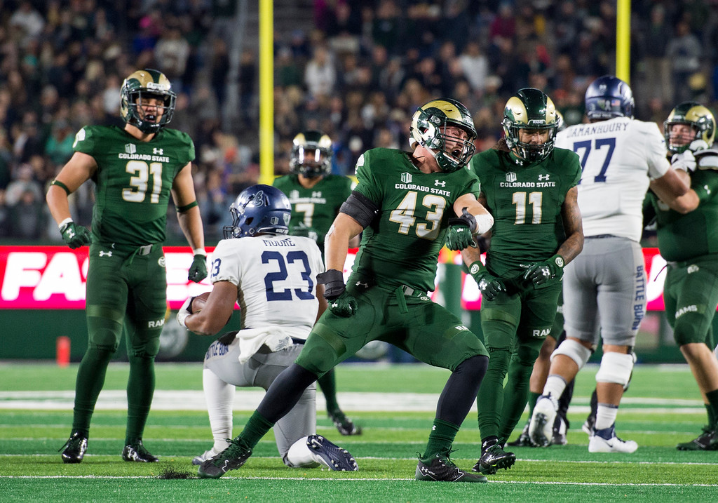 . Colorado State linebacker Evan Colorito (43) celebrates a tackle against Nevada during the first half of play Saturday evening Oct. 14, 2017 at the CSU Stadium in Fort Collins. (Michael Brian/For the Reporter-Herald)