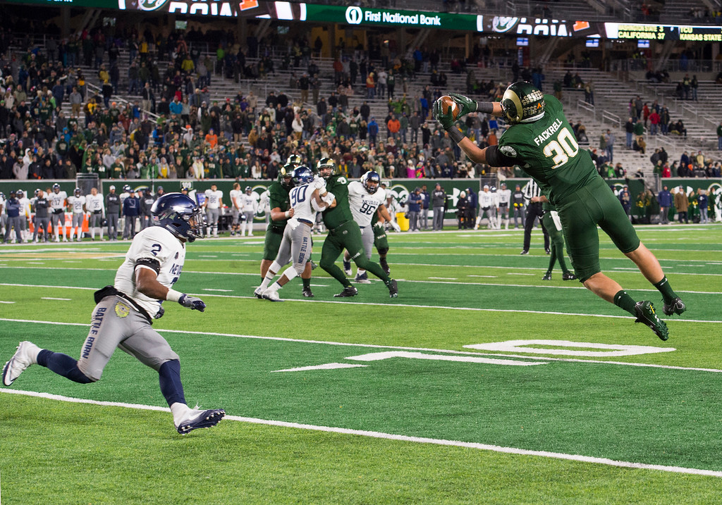 . Colorado State tight end Dalton Fackrell (30) snags a late pass against Nevada Saturday evening Oct. 14, 2017 at the CSU Stadium in Fort Collins. The Rams beat the Wolf Pack 44-42. (Michael Brian/For the Reporter-Herald)