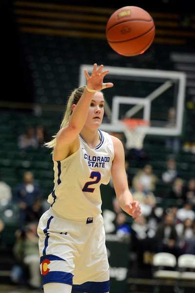 Colorado State guard Stine Austgulen makes a pass during Saturday's game at Moby Arena. (Sean Star/Loveland Reporter-Herald)