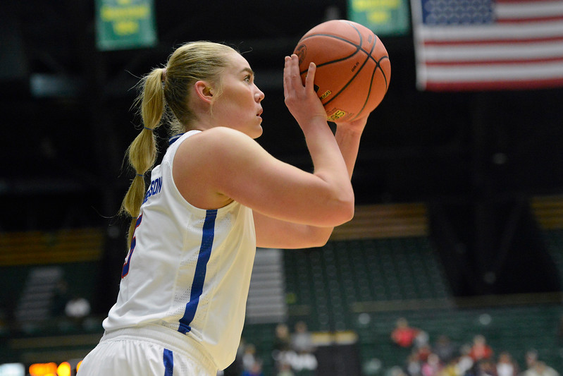 Colorado State guard Sofie Tryggedsson lines up a 3-pointer on Saturday at Moby Arena. (Sean Star/Loveland Reporter-Herald)