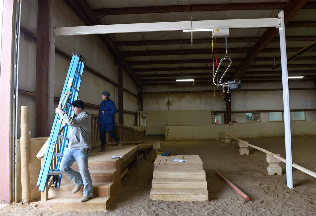 . The new SureHands mechanical lift Thursday at the Colorado Therapeutic Riding Center, 11968 Mineral Rd. The lift will be used to accommodate more people with disabilities and help them mount horses. To view a video and photos visit timescall.com. Lewis Geyer/Staff Photographer Feb. 15, 2018