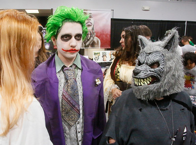 Lucius Sawley, center left, and Mary Wade, both of Hydesville, chat at ComicCon at the Blue Lake Casino on Saturday. (Shaun Walker -- The Times-Standard)