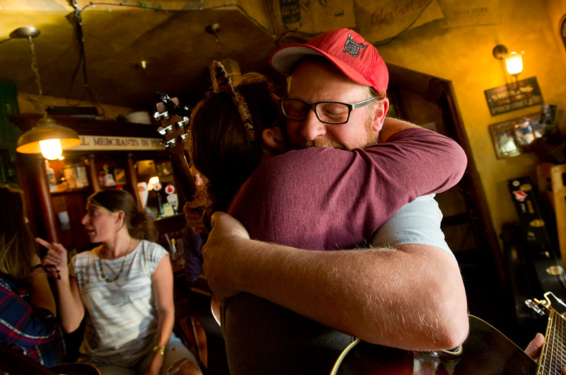"Bill Huston hugs Troy Clayton after a jam session at Conor O'Neill's Irish Pub in Boulder on Sunday. The pub announced they're closing next Sunday, after 17 years in business. <br /> More photos:  <a href=""http://www.dailycamera.com"">http://www.dailycamera.com</a><br /> (Autumn Parry/Staff Photographer)<br /> September 25, 2016"