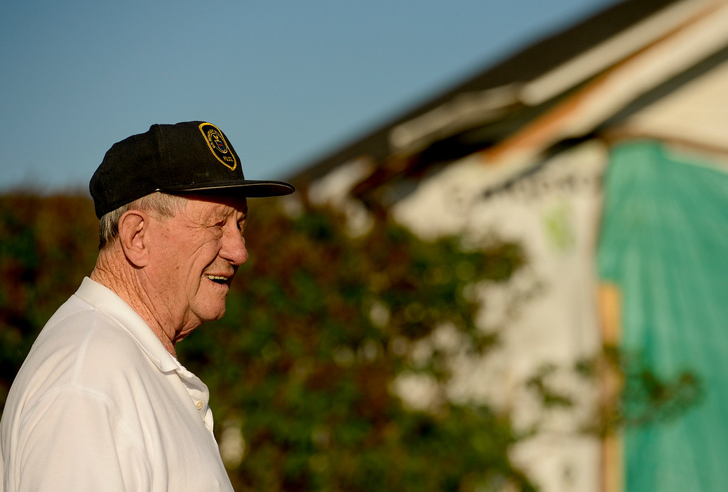 . Vernon Peppler, 88, stands near the damaged home he grew up in off Colo. 66 in Longmont on Thursday. The house was originally built around 1910 and had an additional 2 bedrooms added around 1947. The house was struck by a car on April 27, 2017. Matthew Jonas/Staff Photographer May 11, 2017