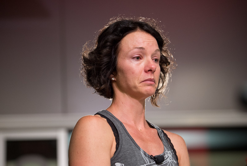"Bri Davis gives a statement about her late husband, Bill Davis, at RallySport Health and Fitness Club in Boulder on Sunday. Bill Davis was killed in a hit-and-run crash at 30th Street and Jay Road on Saturday.<br /> More photos:  <a href=""http://www.dailycamera.com"">http://www.dailycamera.com</a><br /> (Autumn Parry/Staff Photographer)<br /> June 26, 2016"
