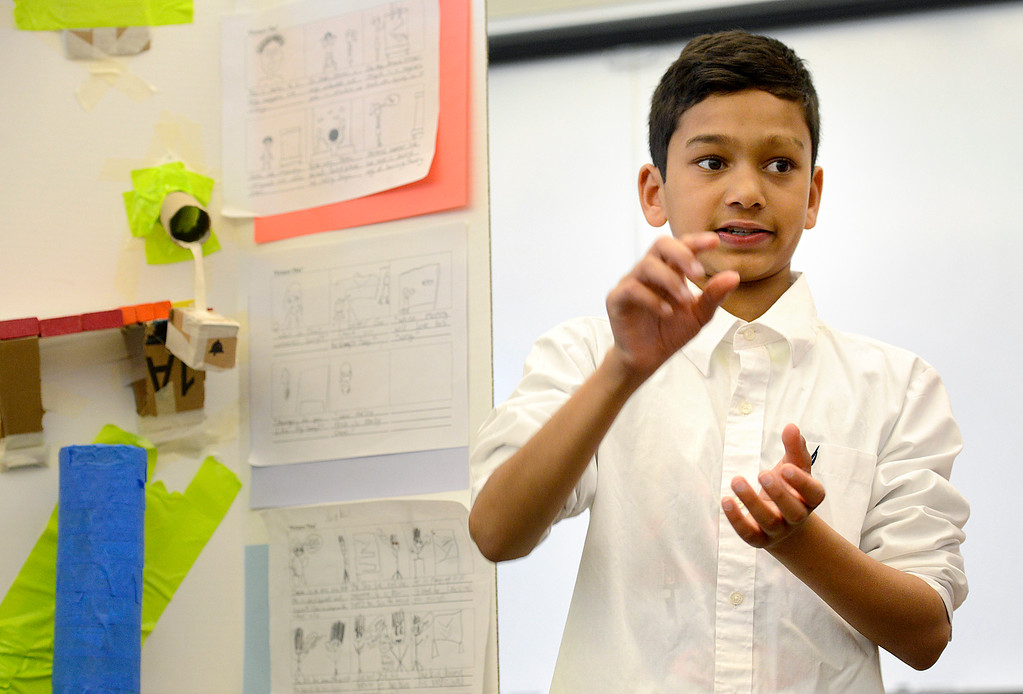 . BEST BEST BEST Sixth grader Kevin Patel, 12, presents an educational toy idea to a panel of business people at Alexander Dawson School on Monday.  Kira Horvath / Staff Photographer / May 2, 2016