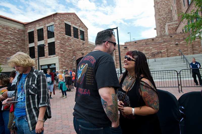 """Ace Nall and his wife, Phoenix Nall, wait in the VIP line for the Dead & Company concert at the University of Colorado's Folsom Field in Boulder on Saturday.<br /> More photos:  <a href=""""http://www.dailycamera.com"""">http://www.dailycamera.com</a><br /> (Autumn Parry/Staff Photographer)<br /> July 2, 2016"""