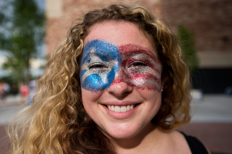 """Adrienne Heinzelman painted her face for the Dead & Company concert at the University of Colorado's Folsom Field in Boulder on Saturday.<br /> More photos:  <a href=""""http://www.dailycamera.com"""">http://www.dailycamera.com</a><br /> (Autumn Parry/Staff Photographer)<br /> July 2, 2016"""