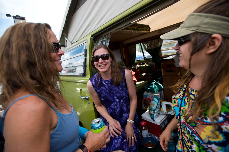 """From left to right, Ali Jeppe, Krista Crabtree and Tania Corvalan share a laugh while waiting for the Dead & Company show on Sunday at the University of Colorado's Folsom Field in Boulder.<br /> More photos:  <a href=""""http://www.dailycamera.com"""">http://www.dailycamera.com</a><br /> (Autumn Parry/Staff Photographer)<br /> July 3, 2016"""