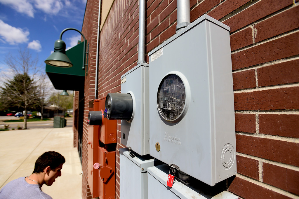 . A spot for a utility meter is seen on the outside of the building after it was mistakenly taken down by an XCEL contractor. After being open for less than two days, Deli-Cious Z\'s had to close due to a billing error by XCEL. It will take at least another day to restock food. More photos: DailyCamera.com. Matthew Jonas/Staff Photographer April 20,  2017