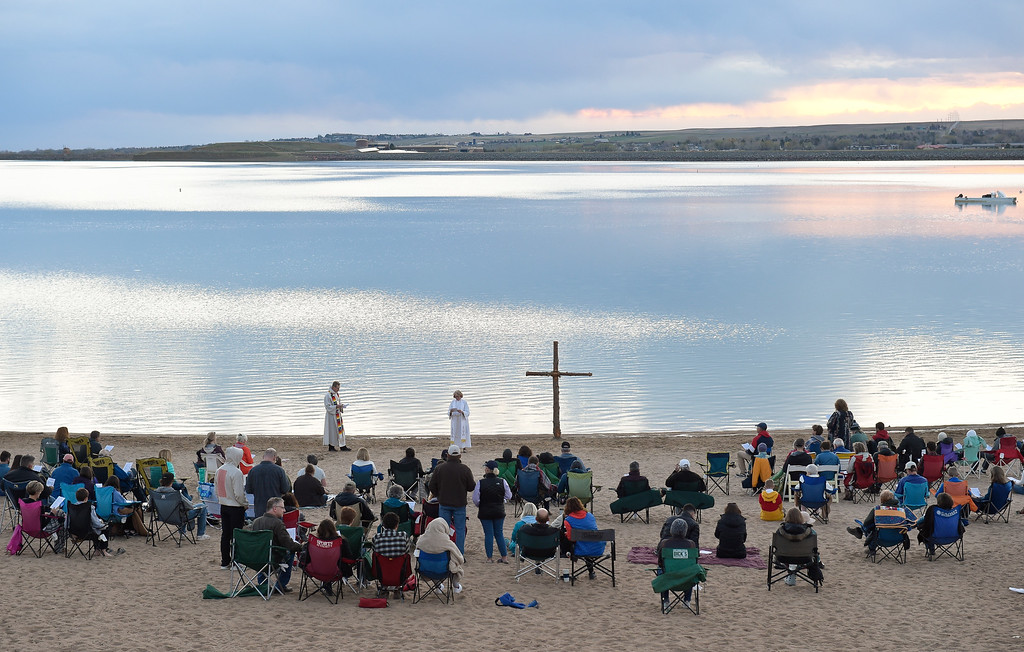 . BOULDER, CO - APRIL 21: The Easter Sunrise Celebration at Boulder Reservoir April 21, 2019. Hosted by Shepherd of the Hills and Trinity Lutheran Churches, the service has been conducted at the reservoir for over 20 years. To view more photos visit dailycamera.com. (Photo by Lewis Geyer/Staff Photographer)