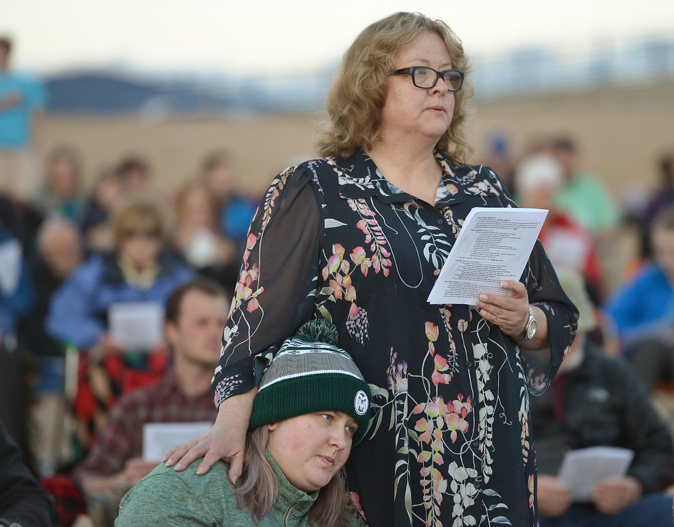 . BOULDER, CO - APRIL 21: Jennifer Trinkner and her mother Cindy Angell have been coming to the Easter Sunrise Celebration at Boulder Reservoir since it started over 20 years ago. The service is hosted by Shepherd of the Hills and Trinity Lutheran Churches. To view more photos visit dailycamera.com. (Photo by Lewis Geyer/Staff Photographer)