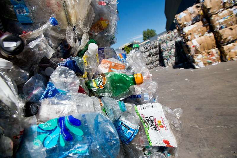 "Mixed plastic packaged in bails will be recycled at the Boulder County Recycling Center on Friday. <br /> More photos:  <a href=""http://www.dailycamera.com"">http://www.dailycamera.com</a><br /> (Autumn Parry/Staff Photographer)<br /> September 9, 2016"