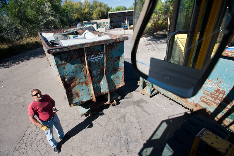 "Supervisor Scotty Mordja works in Eco-Cycles' Center for Hard-to Recycle Materials (CHaRM) in Boulder on Friday. Eco-Cycle, a non-profit recycling center, recently celebrated its 40th anniversary. <br /> More photos:  <a href=""http://www.dailycamera.com"">http://www.dailycamera.com</a><br /> (Autumn Parry/Staff Photographer)<br /> September 9, 2016"