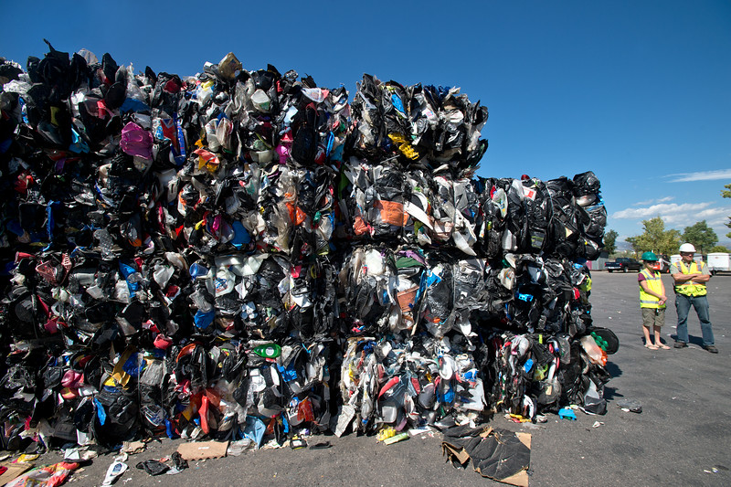 """Bails of plastic will be recycled at the Boulder County Recycling Center on Friday.<br /> More photos:  <a href=""""http://www.dailycamera.com"""">http://www.dailycamera.com</a><br /> (Autumn Parry/Staff Photographer)<br /> September 9, 2016"""