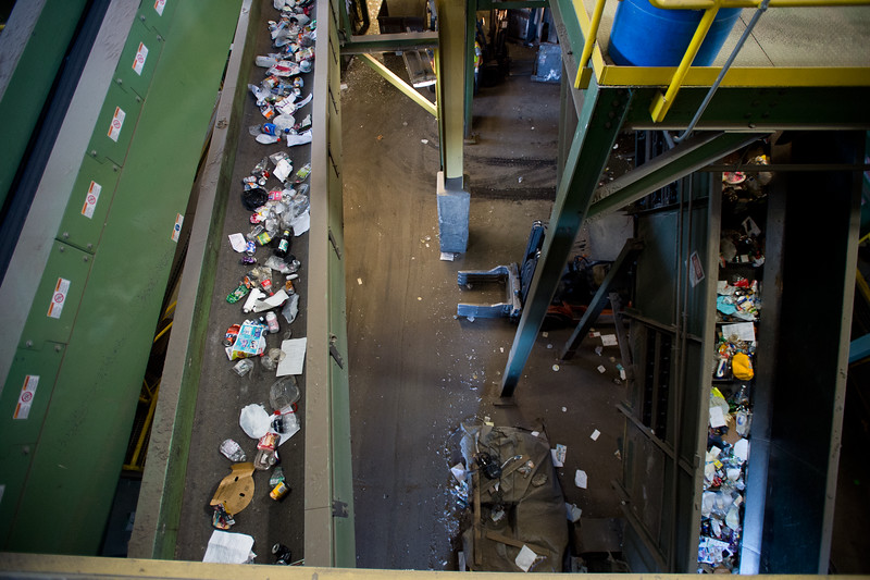 "Assorted recyclables make their way down the conveyor belt which will be sorted through at the Boulder County Recycling Center on Friday. <br /> More photos:  <a href=""http://www.dailycamera.com"">http://www.dailycamera.com</a><br /> (Autumn Parry/Staff Photographer)<br /> September 9, 2016"