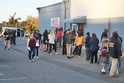 A line stretched far from the front door and was still growing at the Humboldt County Elections office late Tuesday afternoon. (Shaun Walker -- The Times-Standard)