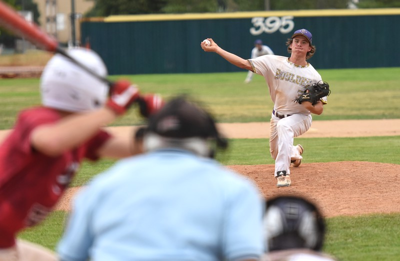 Boulder's Jake Shaul delivers a pitch during the Panthers' Legion B state championship game against Elizabeth on Sunday at Machebeuf High School.