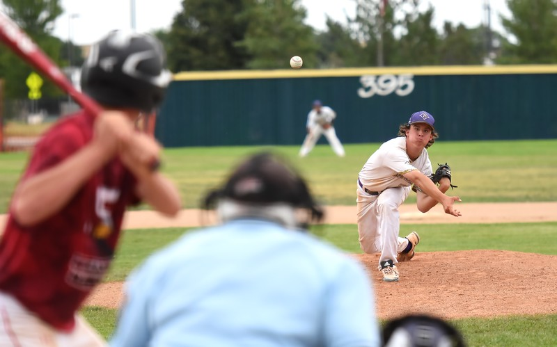 Boulder starter Jake Shaul delivers a pitch during the Panthers' Legion B state championship game against Elizabeth on Sunday at Machebeuf High School.