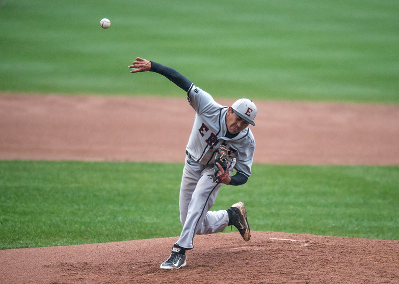 "Erie's Victor Villa pitches against Holy Family during the game at Coors Field in Denver on Saturday.<br /> More photos:  <a href=""http://www.BoCoPreps.com"">http://www.BoCoPreps.com</a><br /> Autumn Parry/Staff Photographer<br /> May 7, 2016"