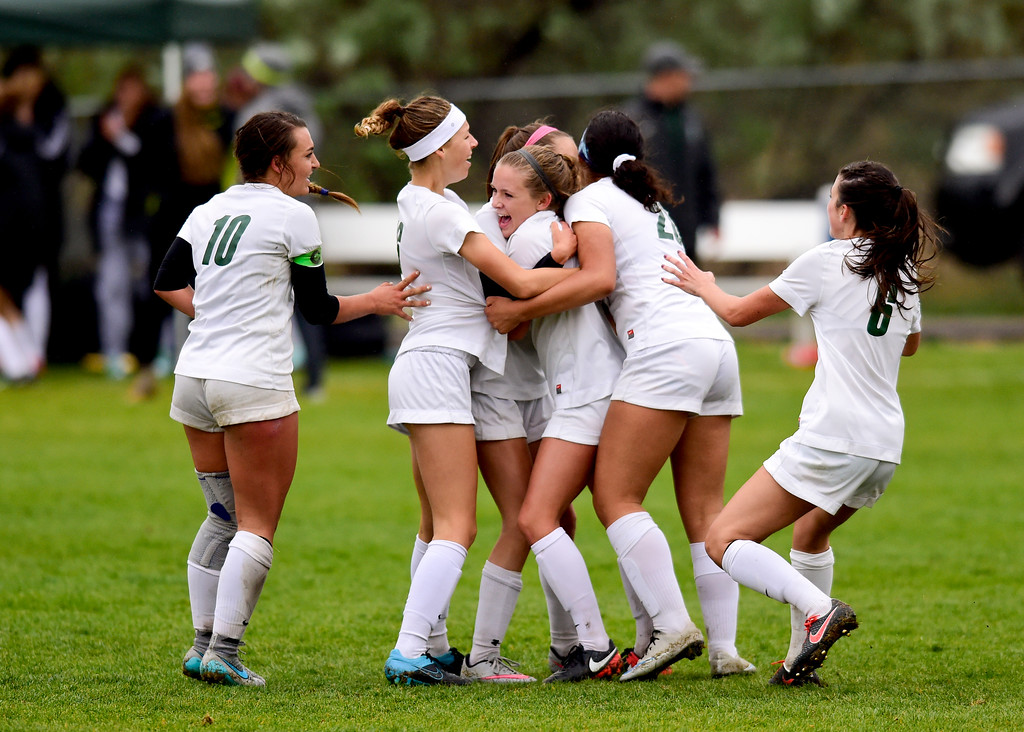 . Niwot High School\'s celebrates a goal against Erie High School on Wednesday. More photos: BoCoPreps.com. Matthew Jonas/Staff Photographer May 10, 2017