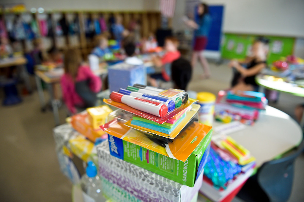 . ERIE, CO - AUG. 15: School supplies fill a table in a second grade classroom on the first day of school at Soaring Heights PK-8, 3280 County Road 5, Wednesday morning, Aug. 15, 2018. The new school has about 960 students enrolled. To view more photos visit timescall.com. (Photo by Lewis Geyer/Staff Photographer)