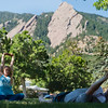 """Renee Rodgers, an instructor with Everest Healing Yoga, leads a yoga class in Chautauqua Park on Thursday. <br /> More photos:  <a href=""""http://www.dailycamera.com"""">http://www.dailycamera.com</a><br /> (Autumn Parry/Staff Photographer)<br /> July 14, 2016"""