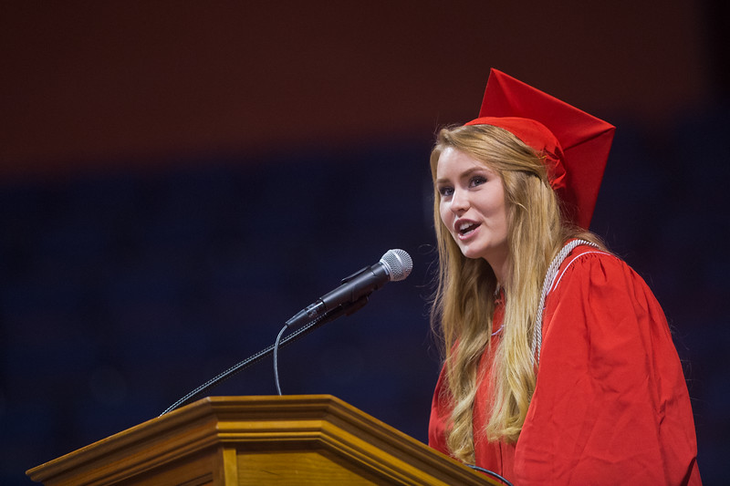 "Julia Combs addresses the class of 2016 during Fairview High School's commencement ceremony at 1st Bank Center in Broomfield on Sunday.<br /> More photos:  <a href=""http://www.dailycamera.com"">http://www.dailycamera.com</a><br /> Autumn Parry/Staff Photographer<br /> May 22, 2016"
