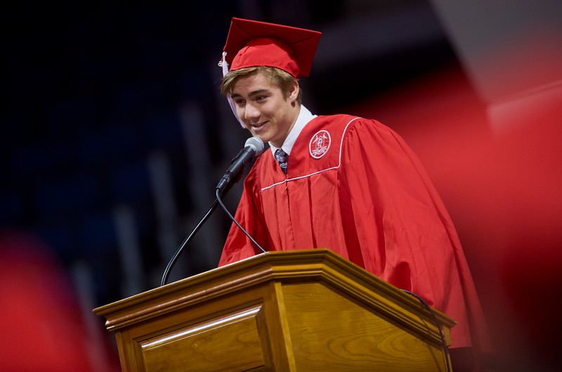 "Daniel Rahn addresses the class of 2016 during Fairview High School's commencement ceremony at 1st Bank Center in Broomfield on Sunday.<br /> More photos:  <a href=""http://www.dailycamera.com"">http://www.dailycamera.com</a><br /> Autumn Parry/Staff Photographer<br /> May 22, 2016"