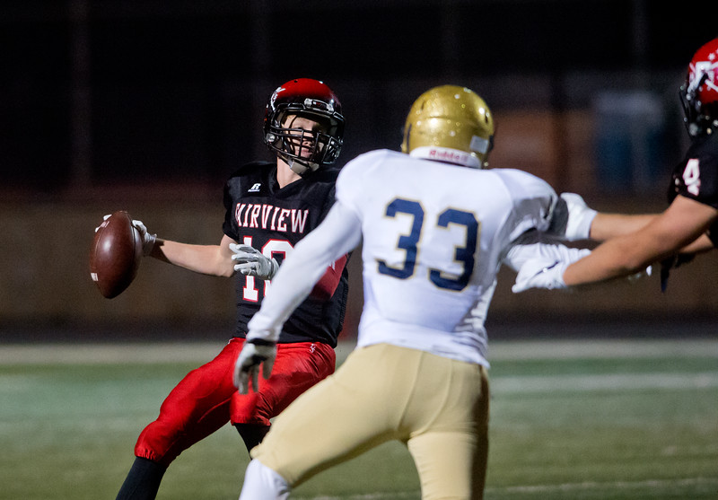 """A Fairview player looks to pass the ball during the game against Mullen at Boulder High School on Friday. <br /> More photos:  <a href=""""http://www.BoCoPreps.com"""">http://www.BoCoPreps.com</a><br /> (Autumn Parry/Staff Photographer)<br /> October 21, 2016"""