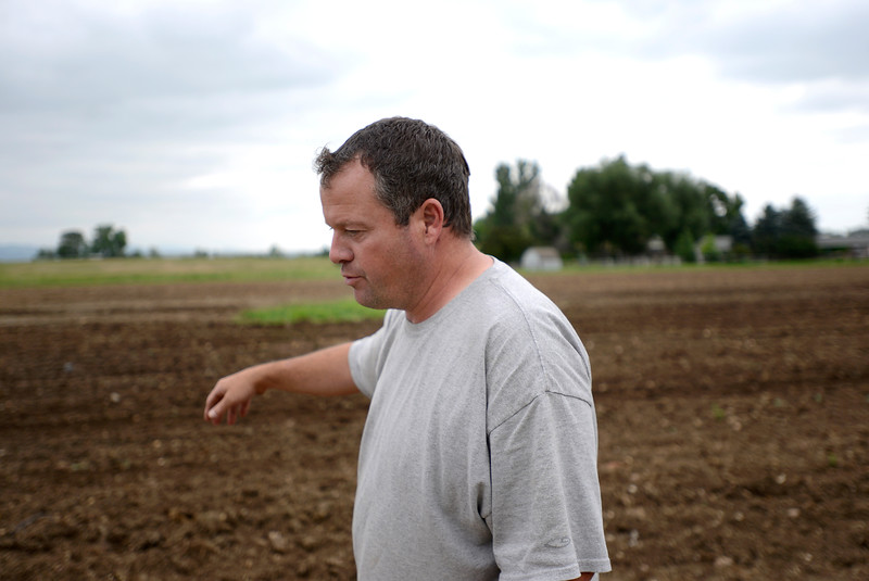 "Eric Skokan, of Black Cat Farm and Bistro, gestures towards a field where he will plant winter squashes and cucumbers on Monday morning. For more photos go to  <a href=""http://www.dailycamera.com"">http://www.dailycamera.com</a><br /> Devi Chung For The Camera. June 20, 2016"