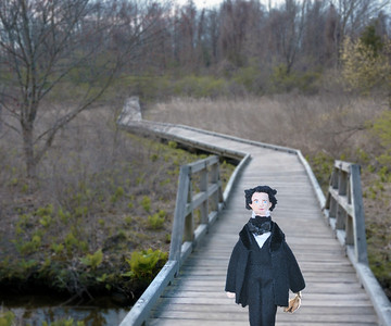 Nathaniel at one of the boardwalks through the marsh on the Battle Road Trail