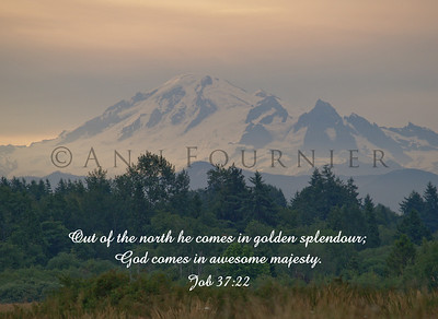 Job 37:22 (NIVuk), Early morning sunrise on Mt. Baker, Washington.