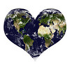 Planet earth in heart shape with clouds