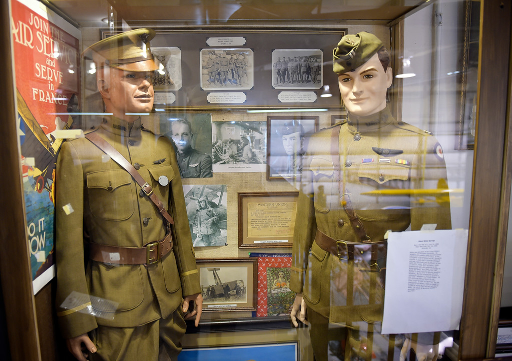 . Dozens of authentic and historic military uniforms and artifacts are on display at the Vintage Aero Flying Museum near Fort Lupton Tuesday. To view a video and slideshow visit timescall.com. Lewis Geyer/Staff Photographer Nov. 07, 2017
