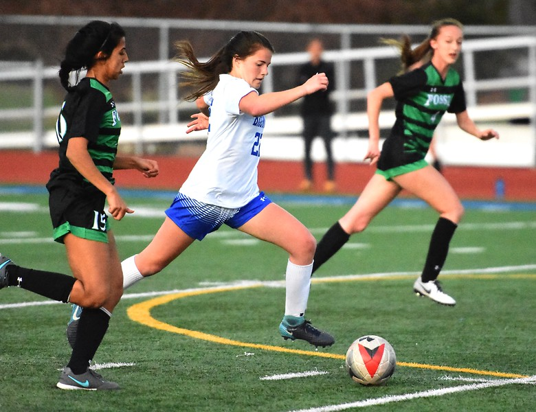 Broomfield's Mallory Mooney pushes the pace during the Eagles' game against Fossil Ridge on Tuesday, April 10, at Broomfield High School.