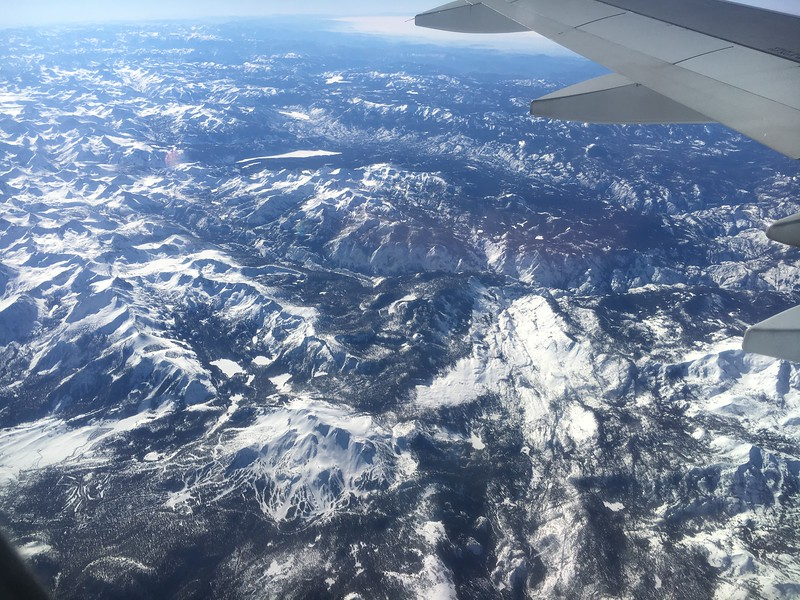 Mammoth Mountain Ski Area in lower left. Fish Creek Drainage flowing upper left to lower right in the center of the photo.