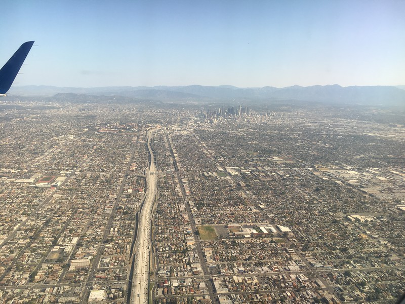 Looking North Along I-110, From Bethune Middle School to USC and Downtown LA...
