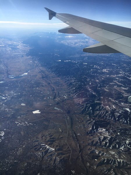 Looking south along the Rocky Mountain Front all the way to Colorado Springs (lower right of photo).