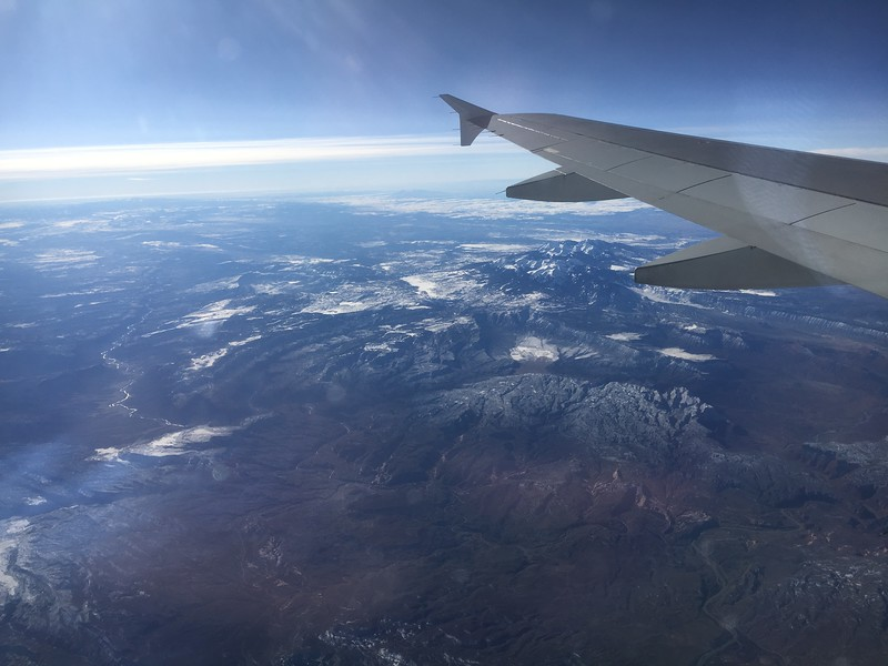 Delores River (middle left), and La Sal Mountains (under wing, center of the photo) at the Colorado-Utah border, on American flight #615, Philly to SFO