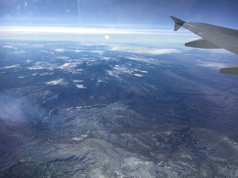 Colorado River (center left-to-right) and La Sal Mountains (upper center of photo), with Moab, Utah (middle-right of photo), on American flight #615, Philly to SFO