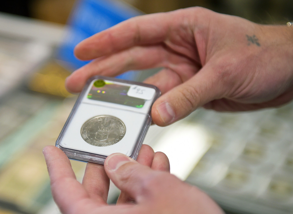. A coin is shown during the Front Range Coin Club\'s coin show at the Boulder County Fairgrounds Sunday. To view more photos visit timescall.com. Lewis Geyer/Staff Photographer March 11, 2018