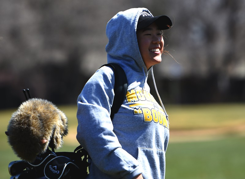 Monarch's Yulim Kim hits a tee shot during the Front Range League's first tournament of the season on Tuesday, April 3, at Flatirons Golf Course in Boulder.