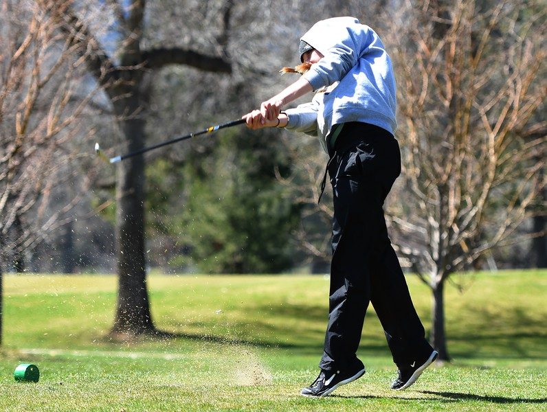 Monarch's Peyton Korte tees off during the Front Range League's first tournament of the season on Tuesday, April 3, at Flatirons Golf Course in Boulder.