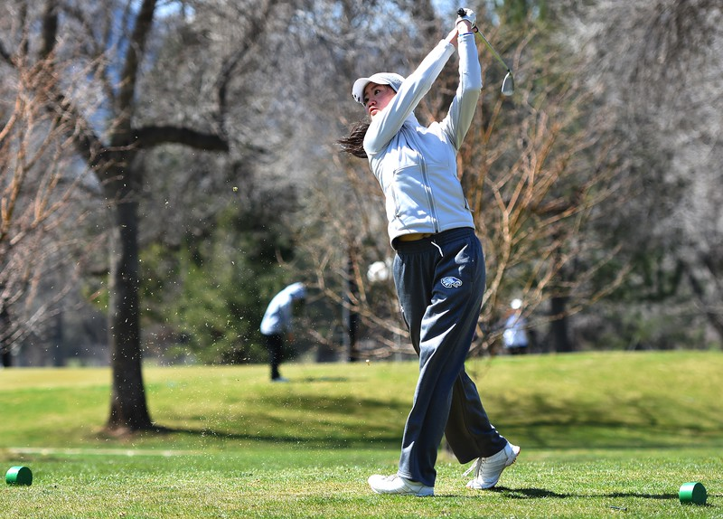 Broomfield's Anna Roh tees off during the Front Range League's first tournament of the season on Tuesday, April 3, at Flatirons Golf Course in Boulder.