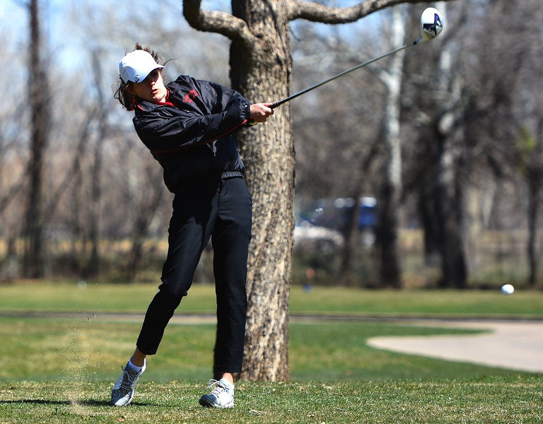 Fairview's Autumn Choka tees off during the Front Range League's first tournament of the season on Tuesday, April 3, at Flatirons Golf Course in Boulder.