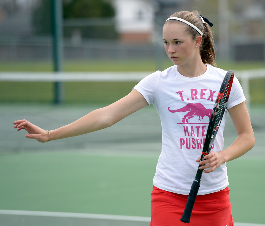 . LOVELAND, CO - APRIL 24: Fairview\'s Alexis Bernthal stretches her arm during her number two singles match at the Front Range League Tournament at Loveland High School April 24, 2019. To view more photos visit bocopreps.com. (Photo by Lewis Geyer/Staff Photographer)