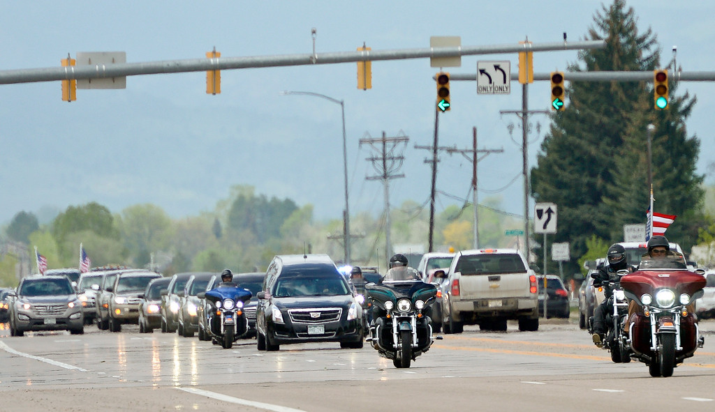 . The funeral procession for Army Spc. Gabriel Conde leaves Longmont Monday afternoon enroute to Fort Logan National Cemetery in Denver. Conde was killed in action in Afghanistan April 30 at the age of 22. To view more photos and a video visit timescall.com. Lewis Geyer/Staff Photographer May 14, 2018