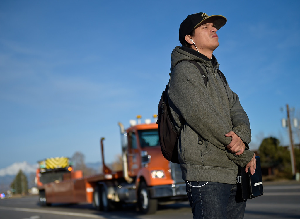 . LONGMONT, CO - MARCH 21: Michael Miera, of Fort Collins, stands at the intersection of Main Street and Colo. 66 waiting for the funeral procession for Colorado State Patrol Cpl. Daniel Groves March 21, 2019. Groves was struck by a vehicle while assisting a motorist on I-76 during last week\'s blizzard. To view more photos visit timescall.com. (Photo by Lewis Geyer/Staff Photographer)